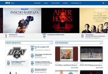 Screen with axs.com websites