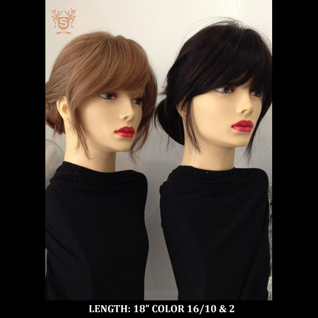 Dummy heads in brown and dark wigs