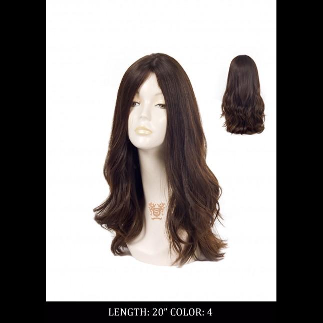 Dummy head in a long dark wig