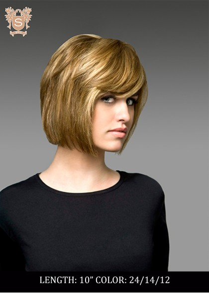 Young woman in blond wig
