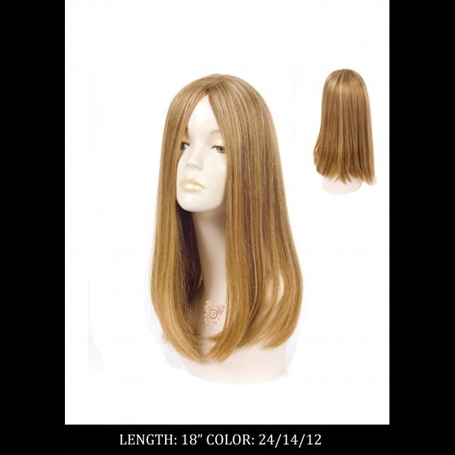 Dummy head in a bright wig