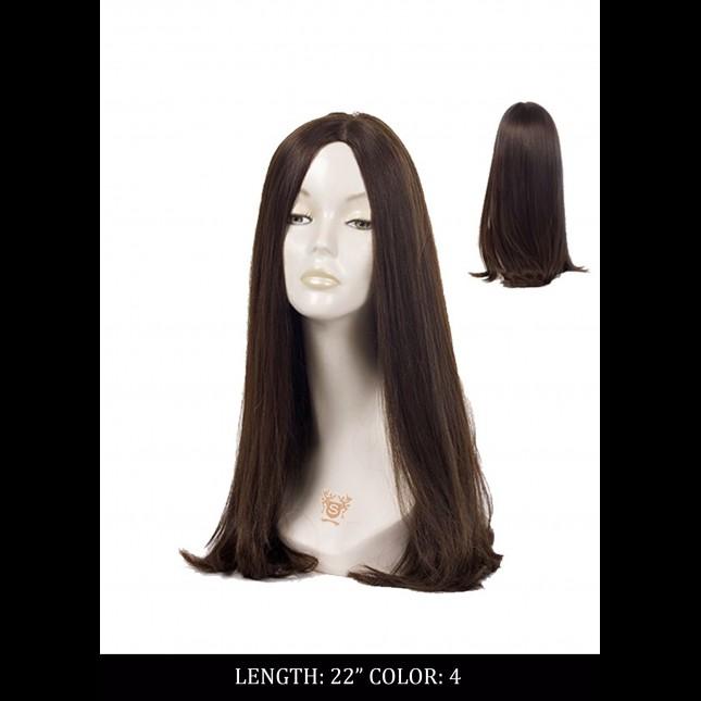 Dummy head in a dark wig