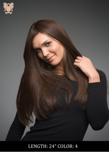 Young woman in a long brown wig