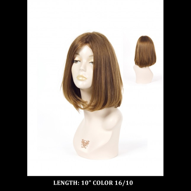 Dummy head in a brown wig