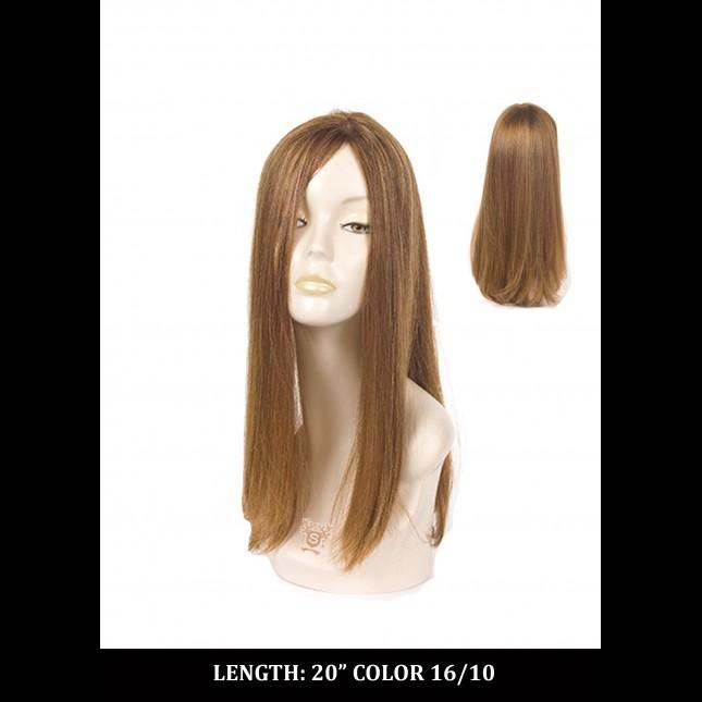 Dummy head in a long blond wig