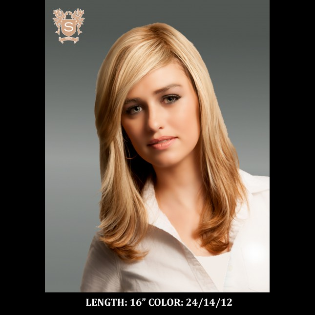 Young woman in a blond wig