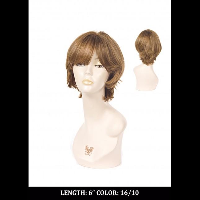 Dummy head in auburn wig