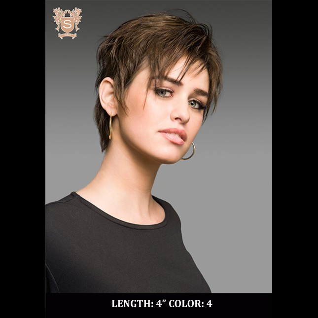 Young woman in short hair wig